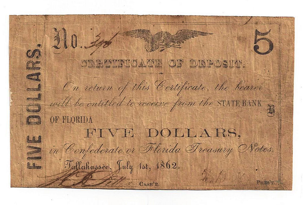 1862 The State Bank Of Florida Tallahassee Five Dollar Certificate