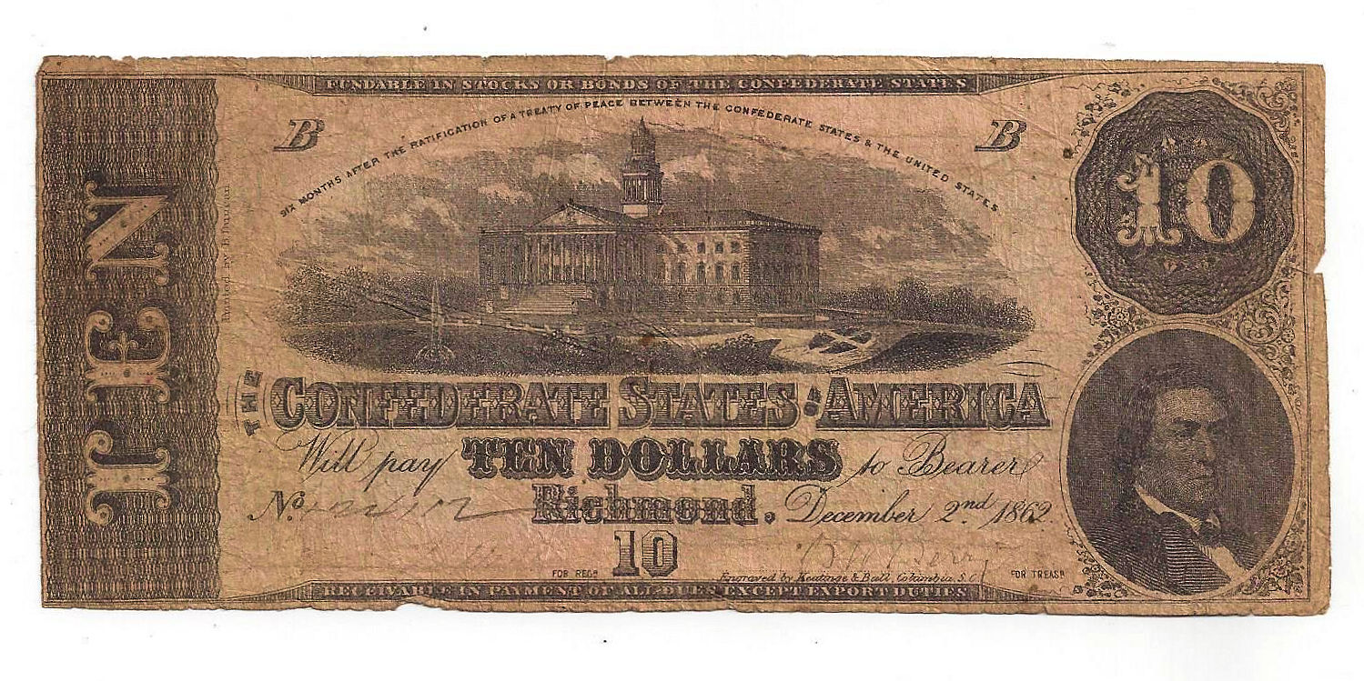 T-52 1862 Confederate States of America Ten Dollar Note No.124112  States America on