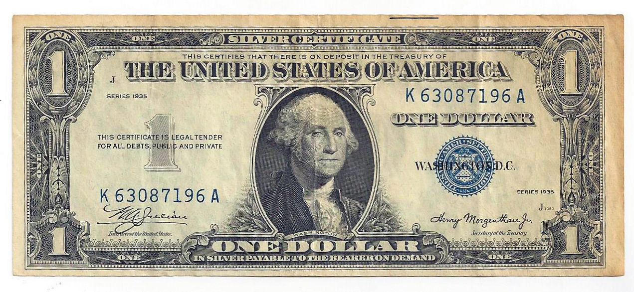 1935 The United States of America One Dollar Silver Certificate