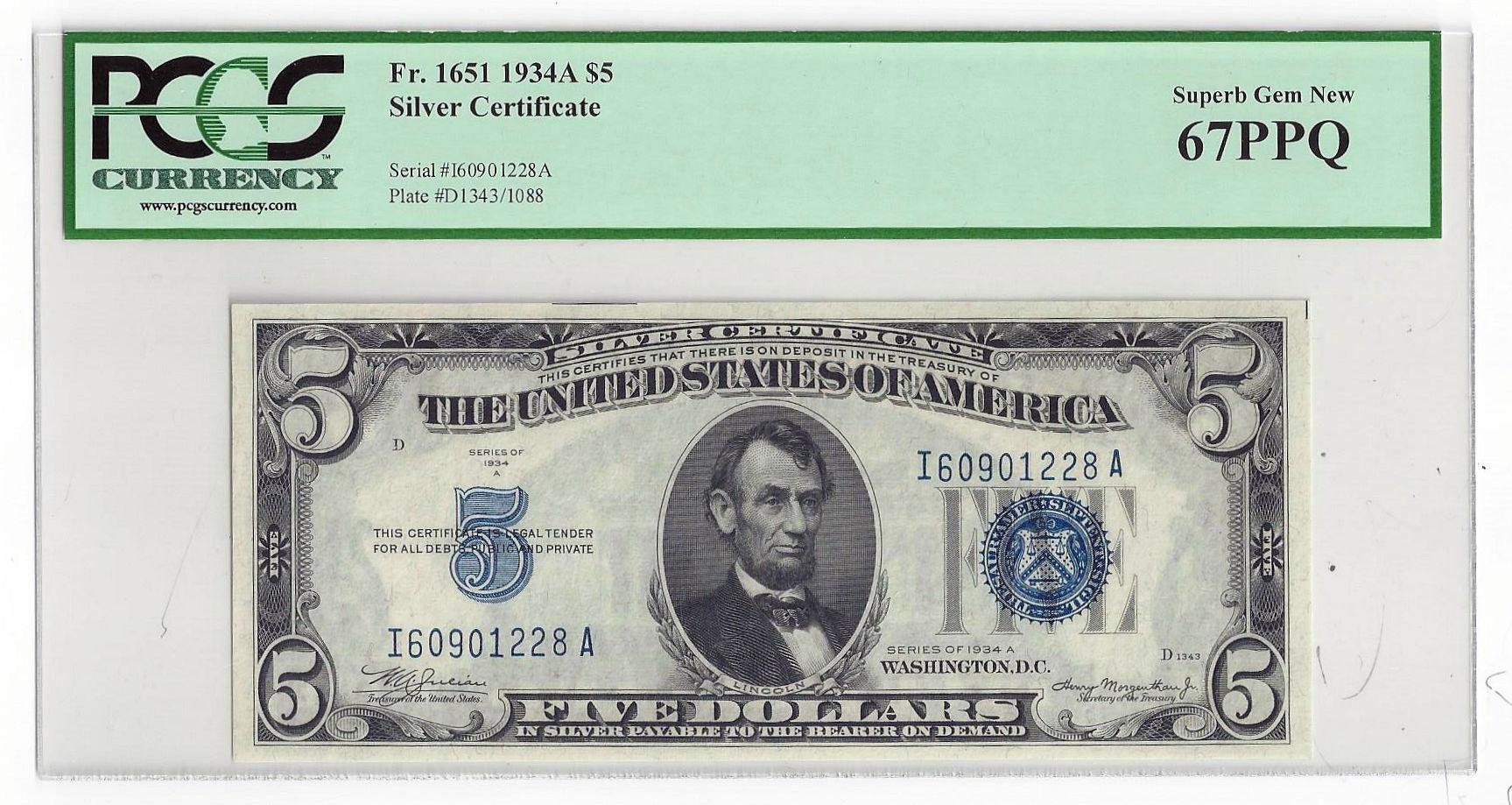 Fr1651 1934a 5 Silver Certificate Pcgs Superb Gem New 67ppq