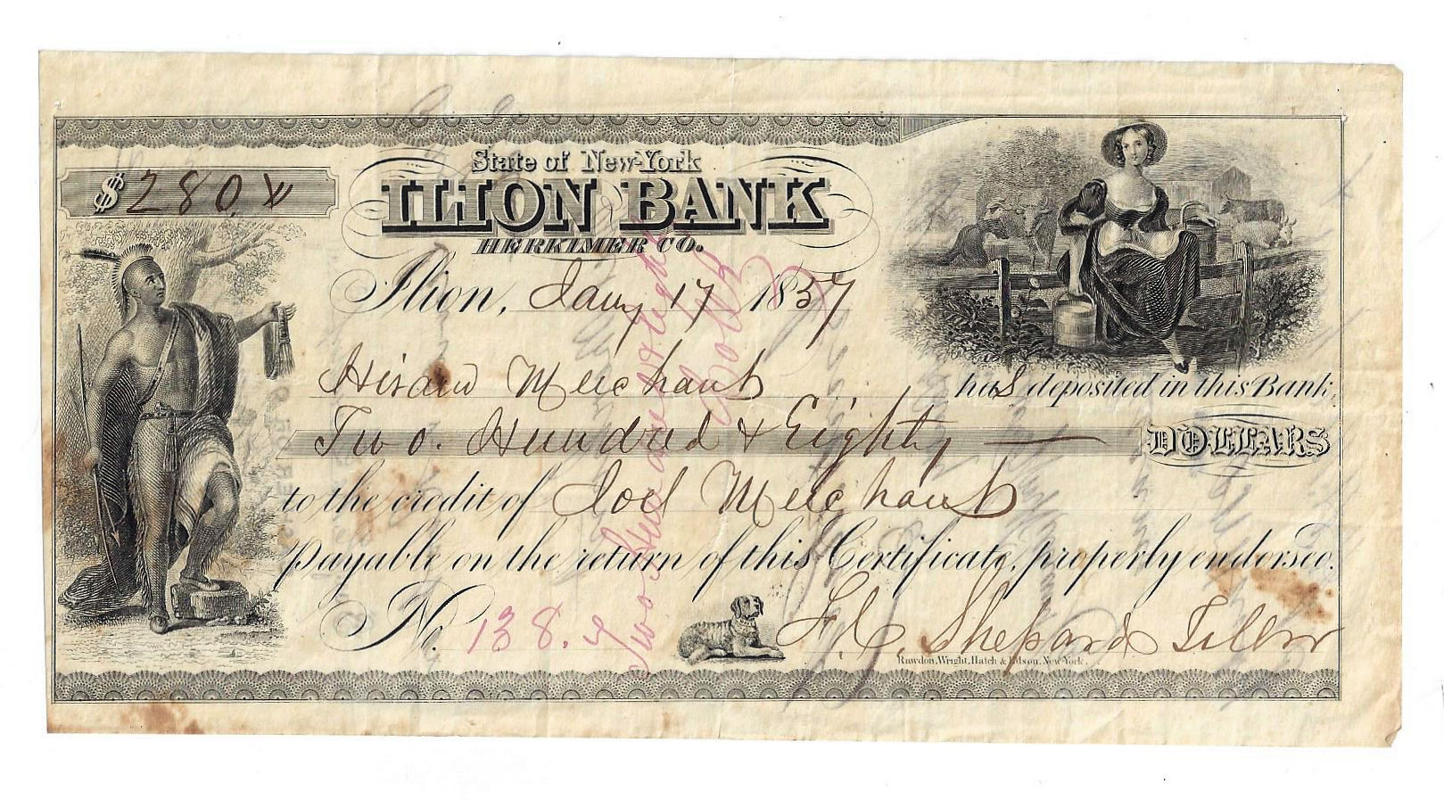 1857 State Of New York Ilion Bank 280 Certificate Of Deposit No138