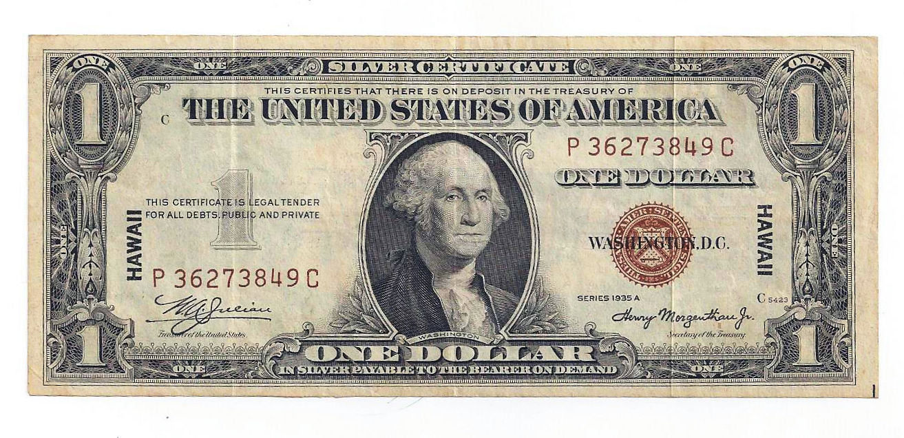 1935a Hawaii United States Of America One Dollar Silver Certificate