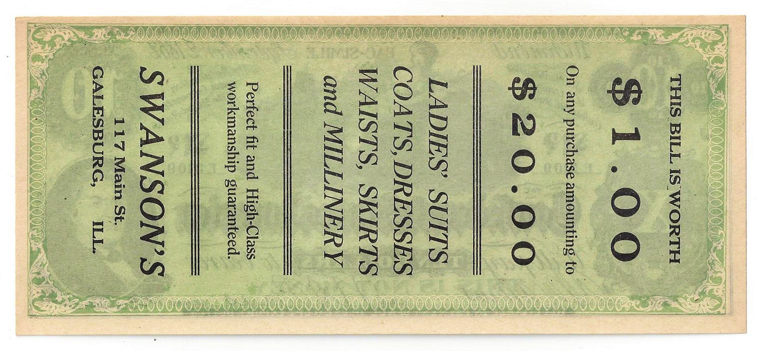"""1862 Confederate States of America Ten Dollar Advertising Note """"Swanson's"""""""
