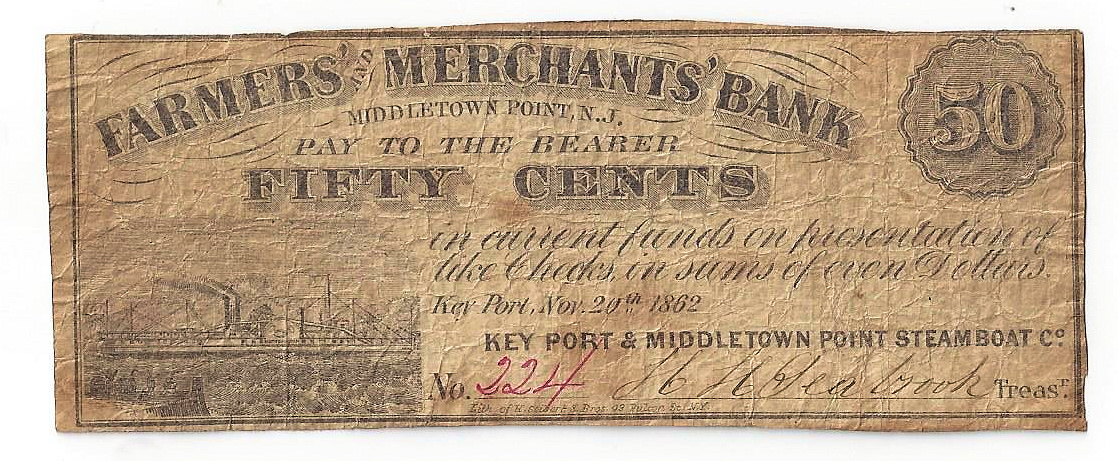 1862 Farmers' & Merchants' Bank Middletown Point NJ Fifty Cent Note W1027