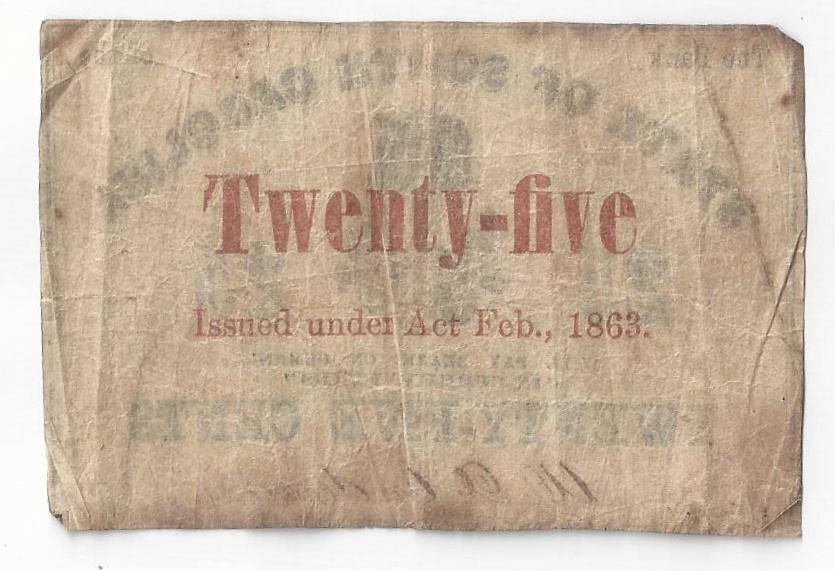 Hoekbank Twenty 5.1863 Bank Of The State Of South Carolina Twenty Five Cent Note 25c 03556
